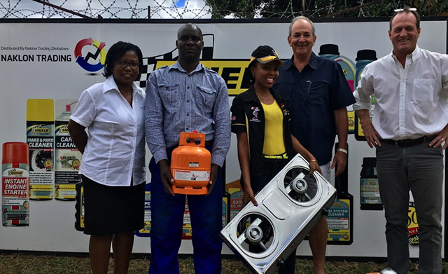 Naklon Trading donates 17 gas stoves to Victoria Falls Anti-Poaching Unit scouts. Left to right: Africa Albida Tourism (AAT) marketing manager Nommy Vuma, Naklon Trading warehouse manager Heavens Beula, Naklon Trading admin assistant Nonie Chigarira, AAT chief executive Ross Kennedy and Naklon Trading director Craig Waugh at the handover of the gas cookers in Harare yesterday.